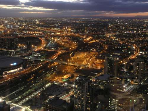 Lighted-up Melbourne Cityscape at Night in Victoria, Australia free photo