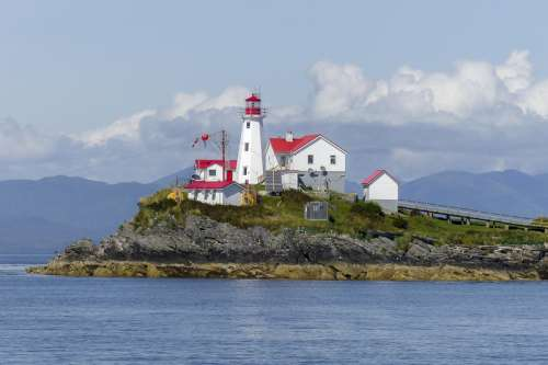 Lighthouse on a Peninsula in British Columbia, Canada free photo