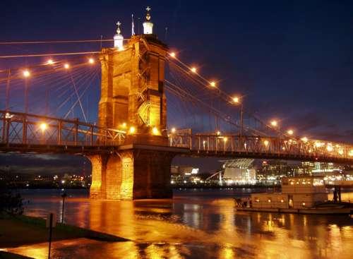 Lights on the suspension bridge in Cincinnati, Ohio free photo