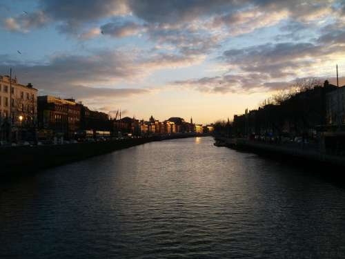Looking at the River and Dublin at Dusk free photo