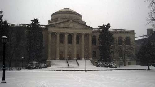 Louis Round Wilson Library in snow at UNC, Chapel Hill, North Carolina free photo