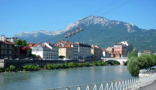 Lower station with landscape and mountains and lakes in Grenoble, France free photo