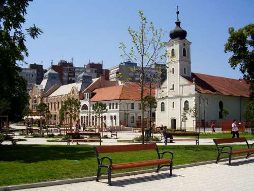 Main Square with buildings in Godollo, Hungary free photo