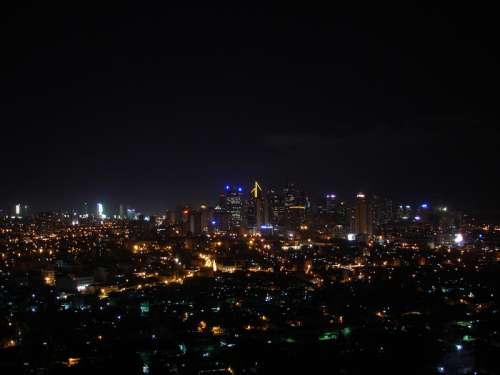 Makati Skyline at night in Manila, Philippines free photo