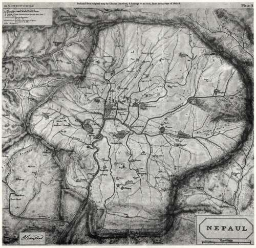 Map of Kathmandu, 1802 in Nepal free photo