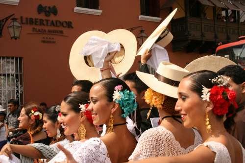 Marinera dancers in Trujillo festival in Trujillo, Peru free photo