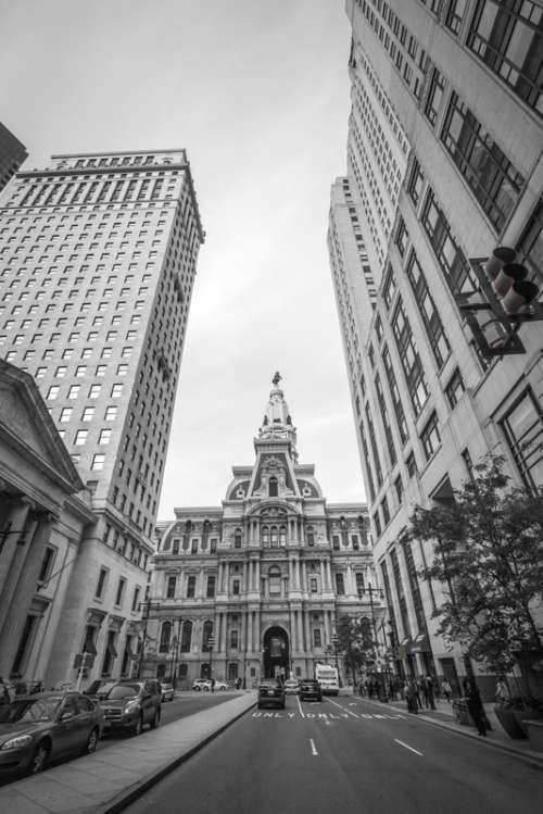 Monochrome photo of City Hall in Philadelphia, Pennsylvania free photo