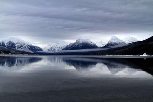 Mountains, sky, and lake landscape in Glacier National Park, Montana free photo
