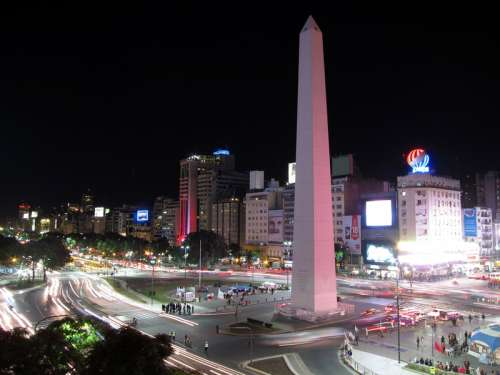 Night Cityscape in Buenos Aires, Argentina free photo