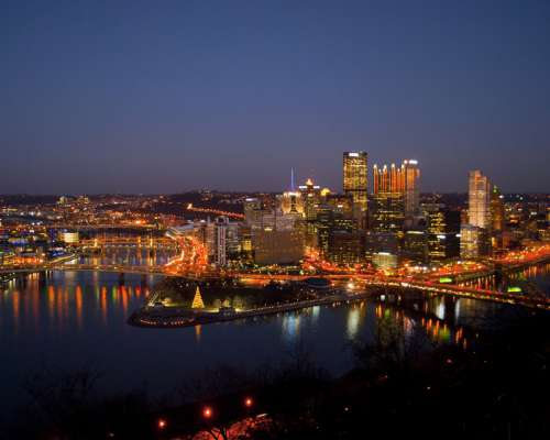 Night Time lighted Cityscape in Pittsburgh, Pennsylvania free photo