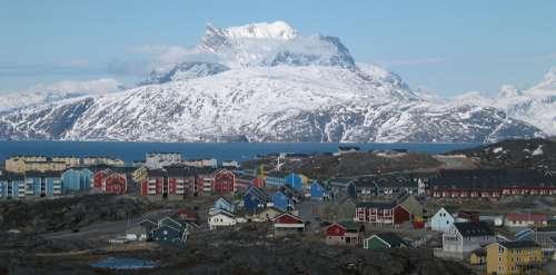 Nuuk city below Sermitsia in Greenland free photo