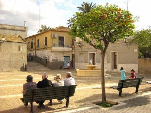 Old part of the city, Barrio del Raval in Elche, Spain free photo