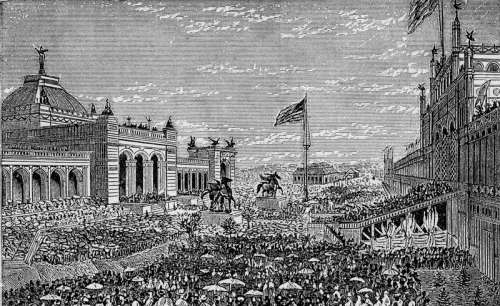 Opening day in 1876 at Centennial Exhibition in Philadelphia, Pennsylvania free photo