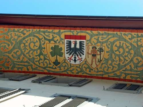 Painted Gable with symbol in Aarau, Switzerland free photo