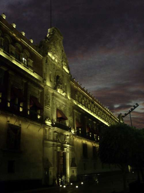 Palacio Nacional at night in Mexico City free photo