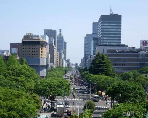 Parade of Sendai Aoba Matsuri held on Higashi-Ni-banchō-dōri avenue in Japan free photo