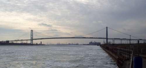 Profile view of bridge over the River in Detroit, Michigan free photo