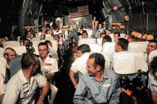 Recently released American POWs from North Vietnamese prison camps in 1973 free photo