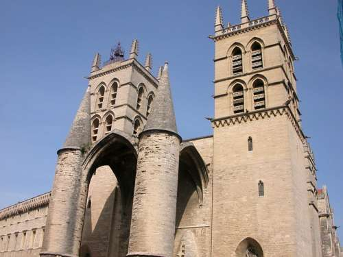 Saint Pierre Cathedral building in Montpellier, France free photo