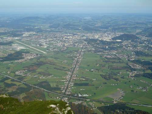 The Salzburg basin as viewed from the air in Austria free photo
