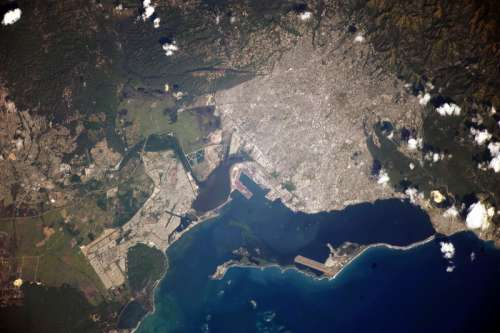 Satellite Image of Kingston, Jamaica free photo