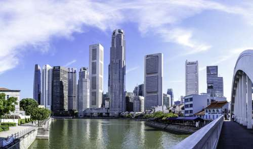 Singapore buildings, skyscrapers, and skyline  free photo