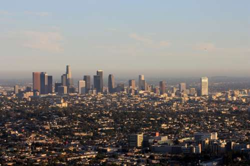 Skyline of Los Angeles, California during the day free photo