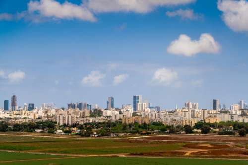 Skyline with towers and sky in Tel-Aviv, Israel free photo
