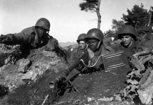 Soldiers from the U.S. 2nd Infantry Division near the Ch'ongch'on River, Korean War free photo