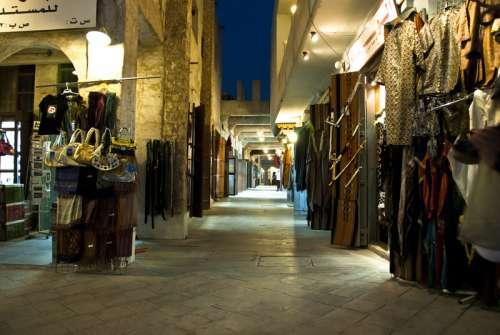 Souq Waqif, Doha, Qatar stores at night free photo
