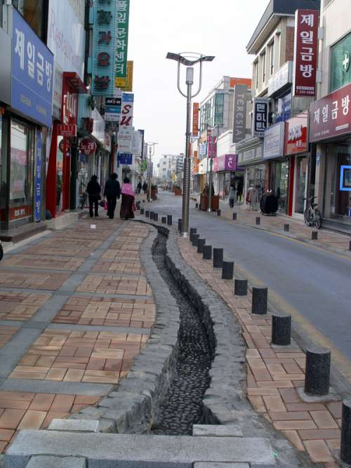 Street in central Jeongeup in South Korea free photo