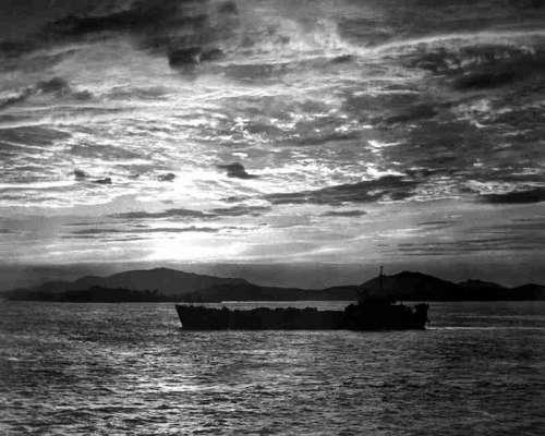 Tank landing ship enters the harbor at Inchon during the Korean War free photo