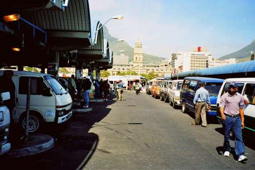 Taxi rank above Cape Town railway station free photo
