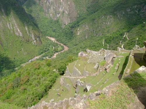 Terrace Steps and River Gorge in Machu Picchu, Peru free photo