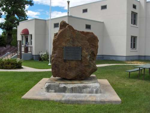 Timmins Chamber of Commerce with Rock and Plaque in Ontario, Canada free photo