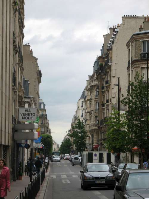 Typical street in Levallois, France free photo