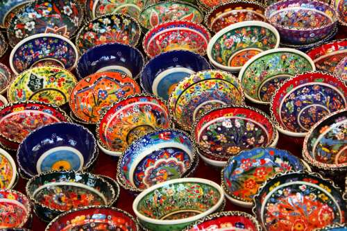 Very Colorful Turkish Bowls free photo