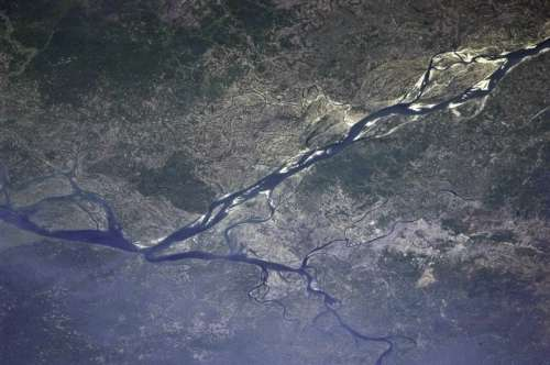 View of Dhaka from the International Space Station in Bangladesh free photo