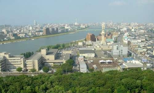 View of Niigata City and Shinano River in Japan free photo