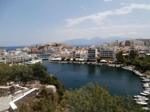 View of the port at Agios Nikolaos, Greece free photo