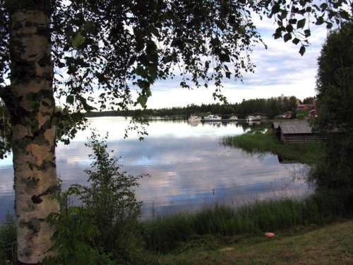 View of the Liperi harbour, on a summer night in Liperi, Finland free photo