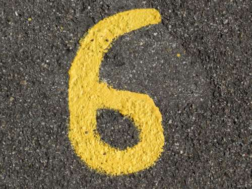 Yellow Number 6 free photo