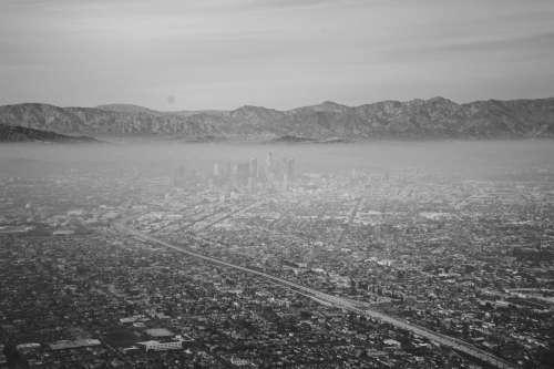 dtla landing smog cityscape