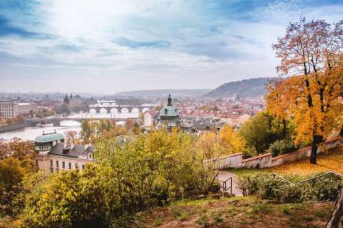 Autumn in Prague overlooking the historic town