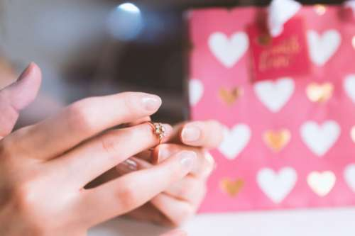 Valentine's Day, Hands of girl with a ring of love