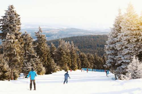 People skiing on a classic downhill track in winter