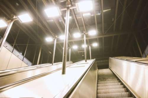 Subway escalators evening