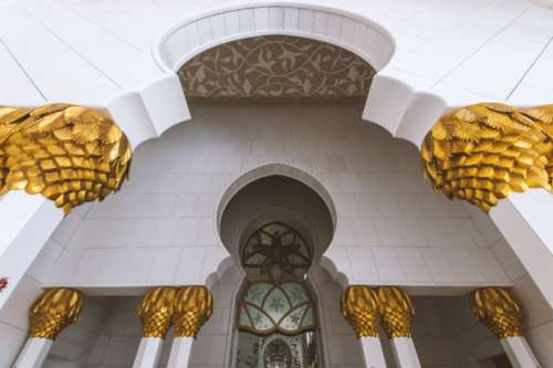 Details of Sheikh Zayed Mosque in Abu Dhabi (UAE)