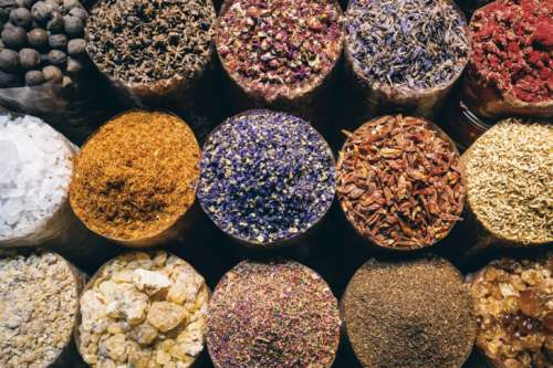 The many seasoning on a spice market. View from top