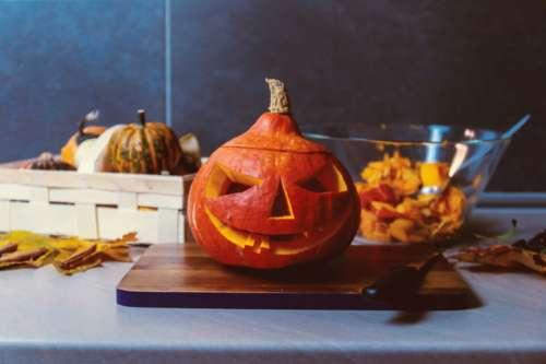 Happy Halloween! We preparing pumpkin to Halloween on kitchen